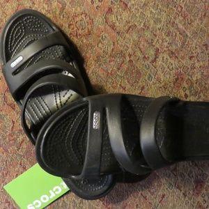 Black sandel Crocs, size 11 bwt